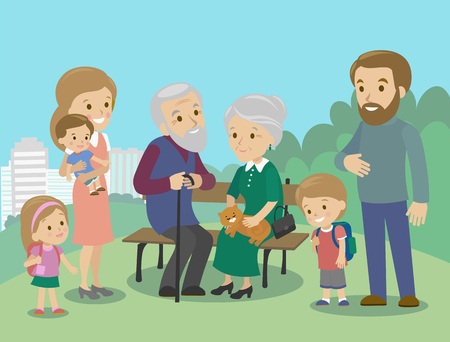 Illustration pour Big family charackters with mother father grandmother grandfather kids baby child set. Vector illustration. Familiar meeting in the park - image libre de droit
