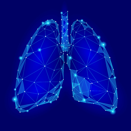 Illustration pour Human Internal Organ Lungs. Low Poly technology design. Blue color polygonal triangle connected dots. Health medicine icon background vector illustration - image libre de droit