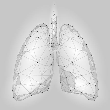 Illustration pour Human Internal Organ Lungs. Low Poly technology design. White Gray color polygonal triangle connected dots. Health medicine icon background vector illustration - image libre de droit