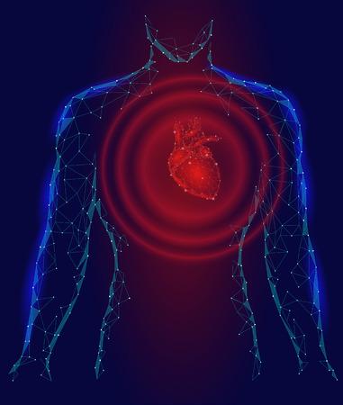 Man silhouette heart beats 3d medicine disease model low