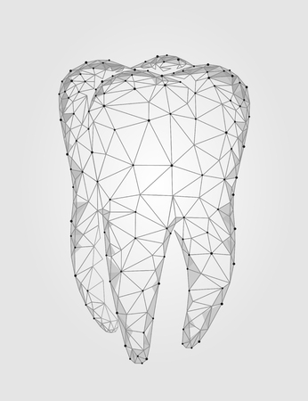 Illustration pour 3d model tooth polygonal structure logo. Stomatology symbol low poly triangle abstract oral medical care business concept. Connected dot particle art vector illustration - image libre de droit