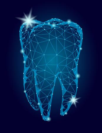 Ilustración de 3d model tooth polygonal structure logo. Stomatology symbol low poly triangle abstract oral medical care business concept. Connected dot particle sparkle art vector illustration - Imagen libre de derechos