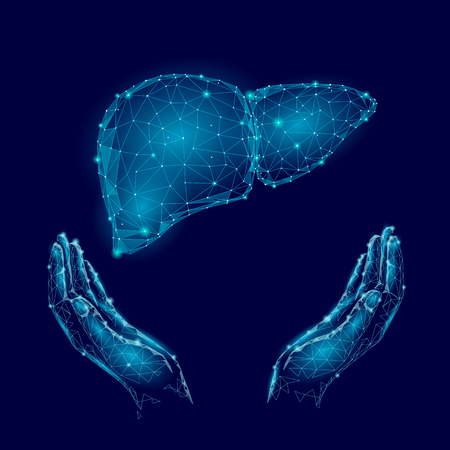 Illustration pour World Hepatitis Day awareness with human hands and liver in blue background - image libre de droit