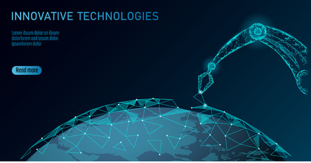Illustration pour Robot arm low poly manipulator. Earth ecology construct assembly triangle shape. Polygonal connected dots 3D render robotic artificial machinery innovation technology hand vector illustration - image libre de droit