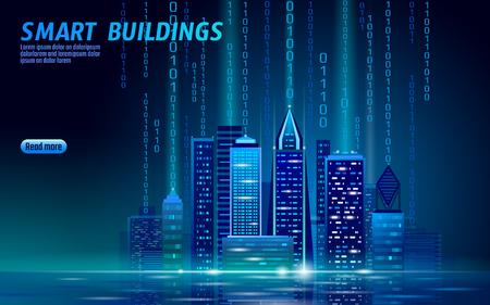 Illustration pour Smart city 3D neon glowing cityscape. Intelligent building automation night futuristic business concept. Web online blue color future technology. Urban banner vector illustration art - image libre de droit
