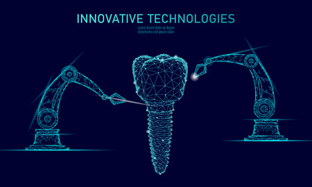Illustration pour 3d tooth innovation robot arm polygonal concept. Stomatology symbol low poly triangle abstract oral dental medical care business. Connected dot particle modern render blue vector illustration - image libre de droit