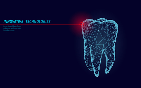 Illustration pour 3d tooth innovation laser dentistry polygonal concept. Stomatology symbol low poly triangle abstract oral dental medical care business. Connected dot particle modern render blue vector illustration - image libre de droit