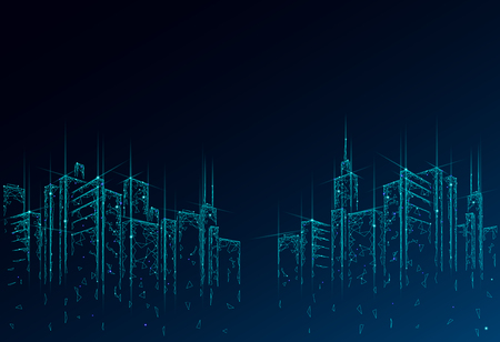 Low poly smart city 3D wire mesh. Intelligent building automation system business concept. High skyscrapers border pattern background. Architecture urban cityscape technology vector illustration.
