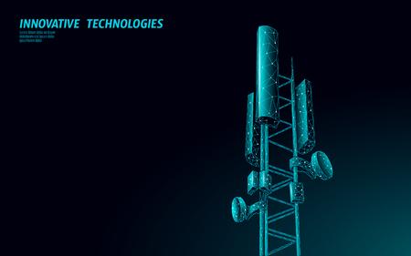 Illustration pour 3d base station receiver. telecommunication tower 5g polygonal design global connection information transmitter. Mobile radio antenna cellular vector illustration - image libre de droit