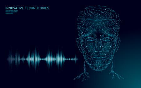 Illustration pour Virtual assistant voice recognition service technology. AI artificial intelligence robot support. Chatbot male man face low poly vector illustration - image libre de droit