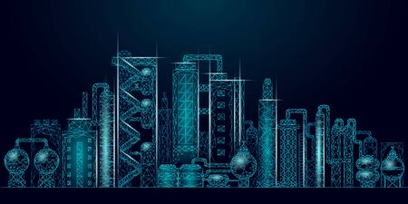 Petroleum oil refinery complex low poly business concept. Finance economy polygonal petrochemical production plant. Petroleum fuel industry downstream. Ecology solution blue vector illustration