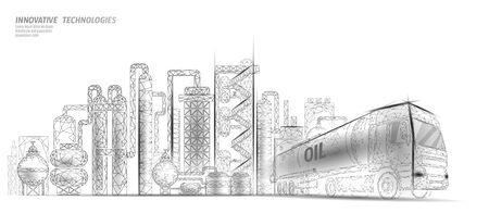 Petroleum oil refinery complex low poly business concept. Finance economy polygonal petrochemical production plant. Petroleum fuel industry truck. Ecology solution vector illustration