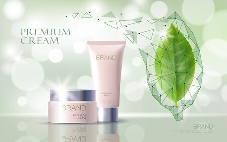 Illustration pour Green tea essential organic extract. Cosmetics skin care supplement. Health medicine vitamin poster template. Innovative technology green 3D realistic leaf glowing brand package vector illustration. - image libre de droit