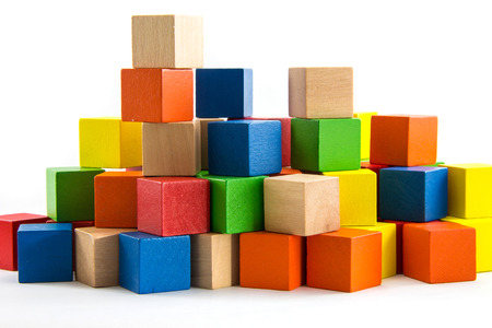Colorful wooden blocks Arranged by the imagination.