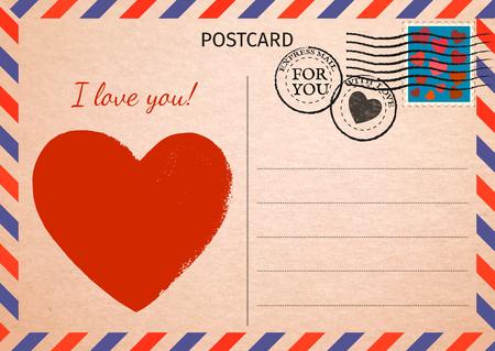Illustration pour Postcard. Red Heart and words I love you. Air Mail. Postal card illustration for your design. Vintage Postcard. Old paper texture. Vector illustration. - image libre de droit