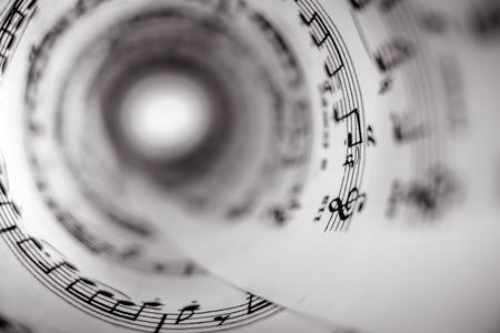 Photo pour Inside of a cone made of a music score sheet. - image libre de droit
