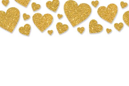 Photo pour Border with golden hearts of sequin confetti. Glitter powder sparkling background. Valentines day background. - image libre de droit