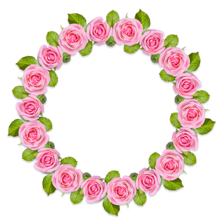 Rond frame Wreath made of pink roses isolated on white background. Gentle circular floral ornament. Flower mandala