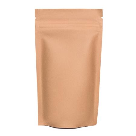 Foto für Blank brown kraft paper bag with zipper isolated on white background - Lizenzfreies Bild