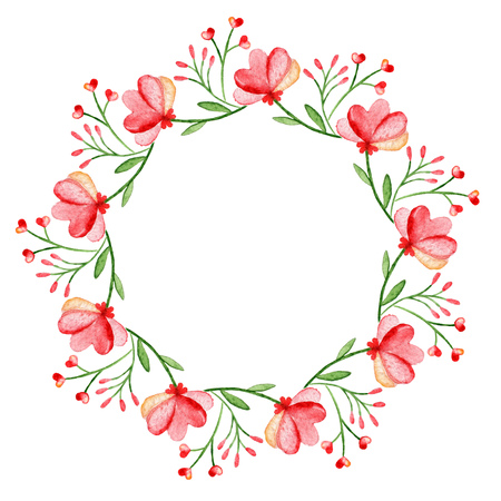 Photo for Watercolor wreath. Frame with spring flowers. Circular hand-drawn design. - Royalty Free Image