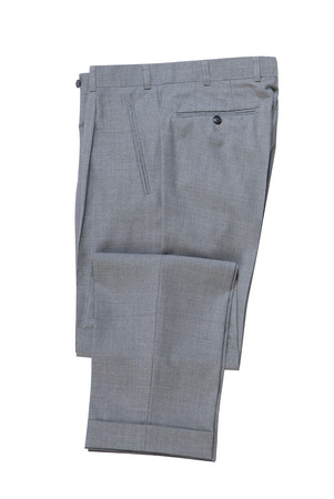 men's folded grey classical trousers.