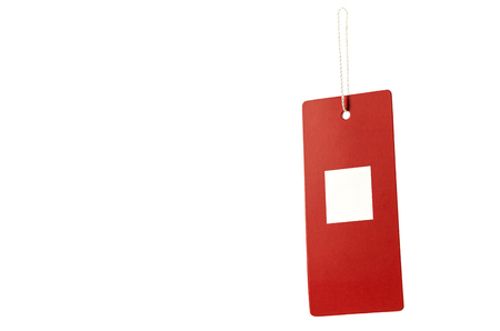 Red tag and white square with rope for hanging. Clipping path inside.
