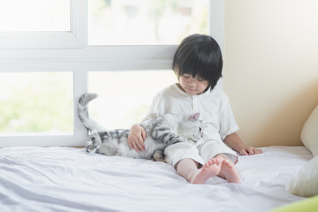 Photo pour Cute asian baby playing with American Shorthair  kitten on white bed - image libre de droit