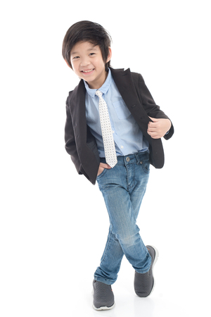 Photo for Asian smiling child boy in business suit on white background isolated - Royalty Free Image