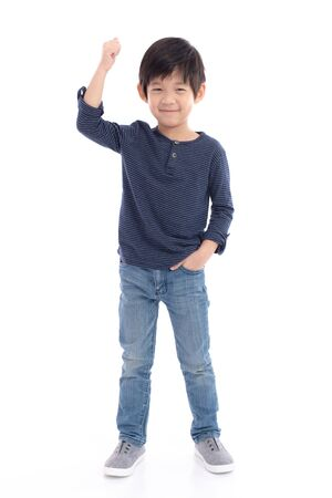 Photo for Cute Asian child showing winner sign on white background isolated - Royalty Free Image