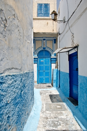 White and blue streets of the Kasbah des Oudaias, Rabat, Morocco