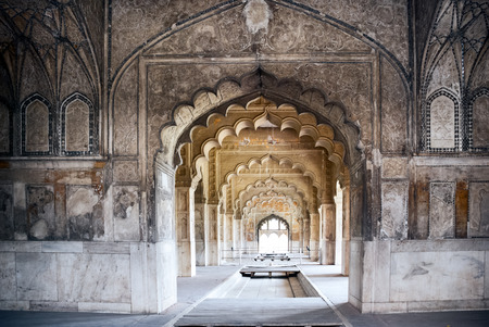 Interior arches of the Red Fort in Delhi