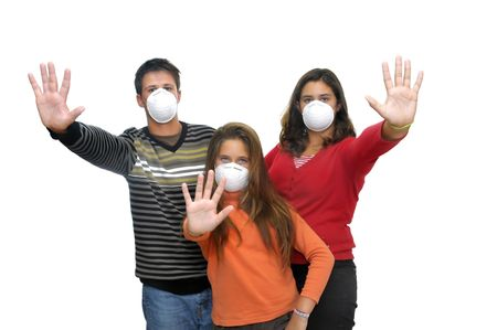 Group of children with masks against flu