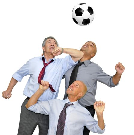 Businessmen playing  soccer isolated in white