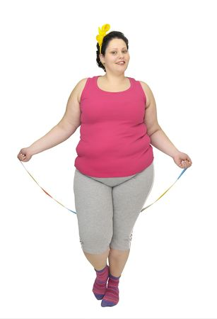 Large girl doing fitness exercises isolated in white