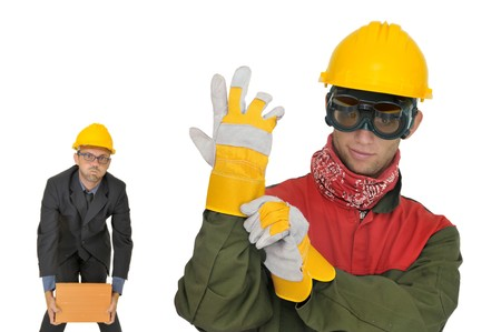 Engineer and worker isolated in white