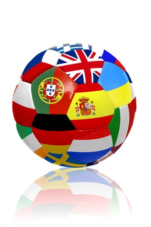 Soccer ball with several  flags for the Euro cup  isolated in white