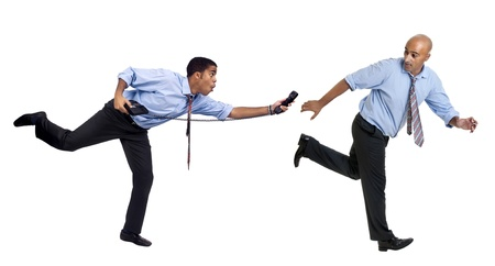 Businessmen running with phone isolated in white
