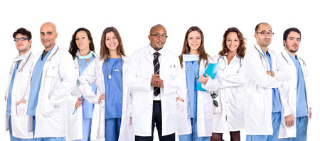 Photo pour Group of doctors isolated in a white backgroud - image libre de droit