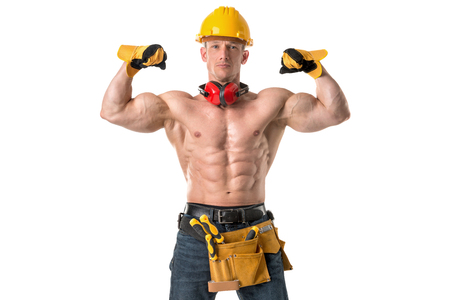 Power shirtless athletic construction worker showing great phisique.