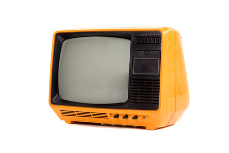 Old retro tv isolated in a white background