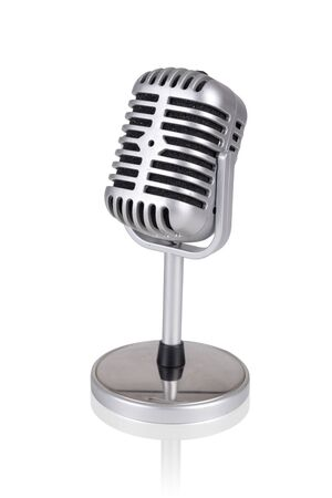Photo pour Old style microphone isolated in a white background - image libre de droit