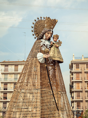VALENCIA, SPAIN - MARCH 15: Virgen de los Desamparados,patron saint of Valencia, in the traditional flower offering celebration in praise of Saint Joseph on March 18, 2015 in Valencia, Spain.