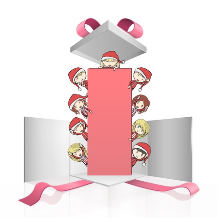 Group of children with Santa s costume holding a empty placard inside a gift box  Vector design