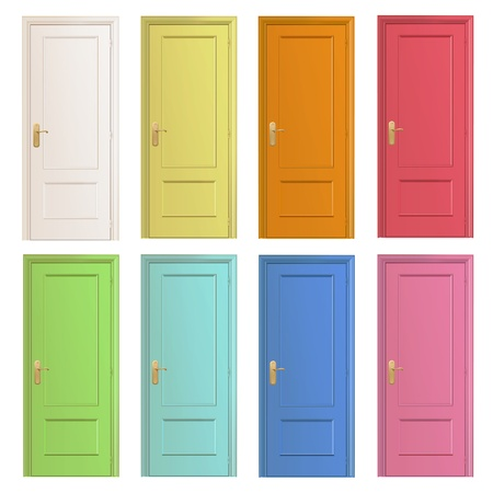 Collection of colorful doors.