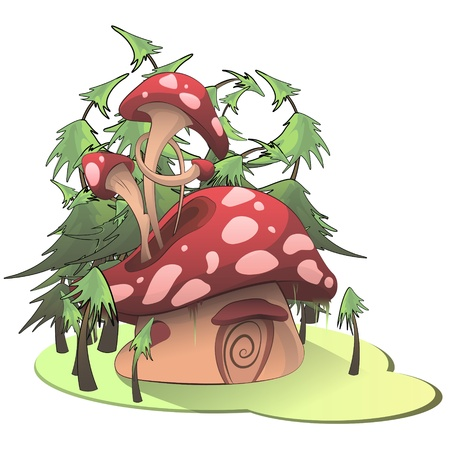 Mushroom house on white background. Vector illustration.