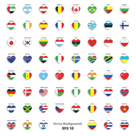 Set of flags heart  Vector design
