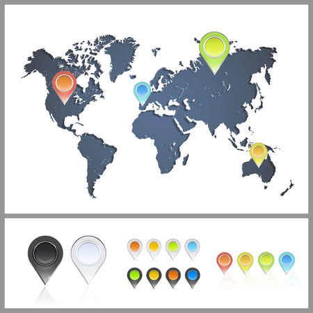 Worlds map over white background  Vector background