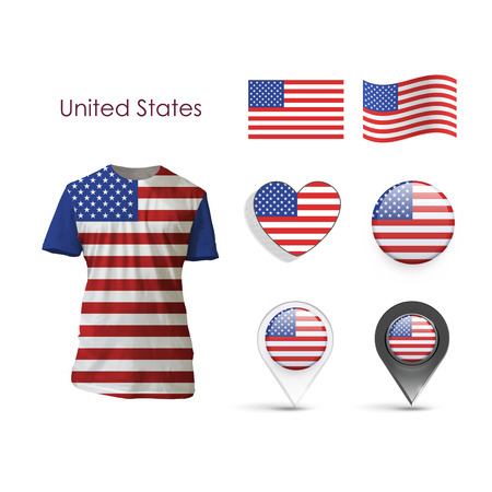 Set of America design over white background