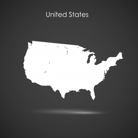Silhouette of America over grey background