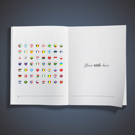 Set of flags heart printed on book. Vector design